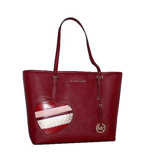 3ab771382bba Amazon.com: MICHAEL Michael Kors Women's HEARTS Jet Set Travel MEDIUM  Leather Carry All Tote Handbag (Cherry): Shoes