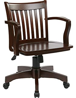 Merveilleux Office Star Deluxe Wood Bankers Desk Chair With Wood Seat, Espresso
