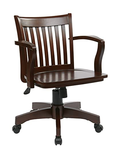 Office Star Deluxe Wood Bankers Desk Chair With Wood Seat, Espresso