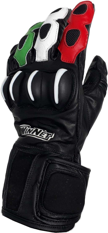 XL Guanti da moto in pelle con protezioni livrea tricolore italiana