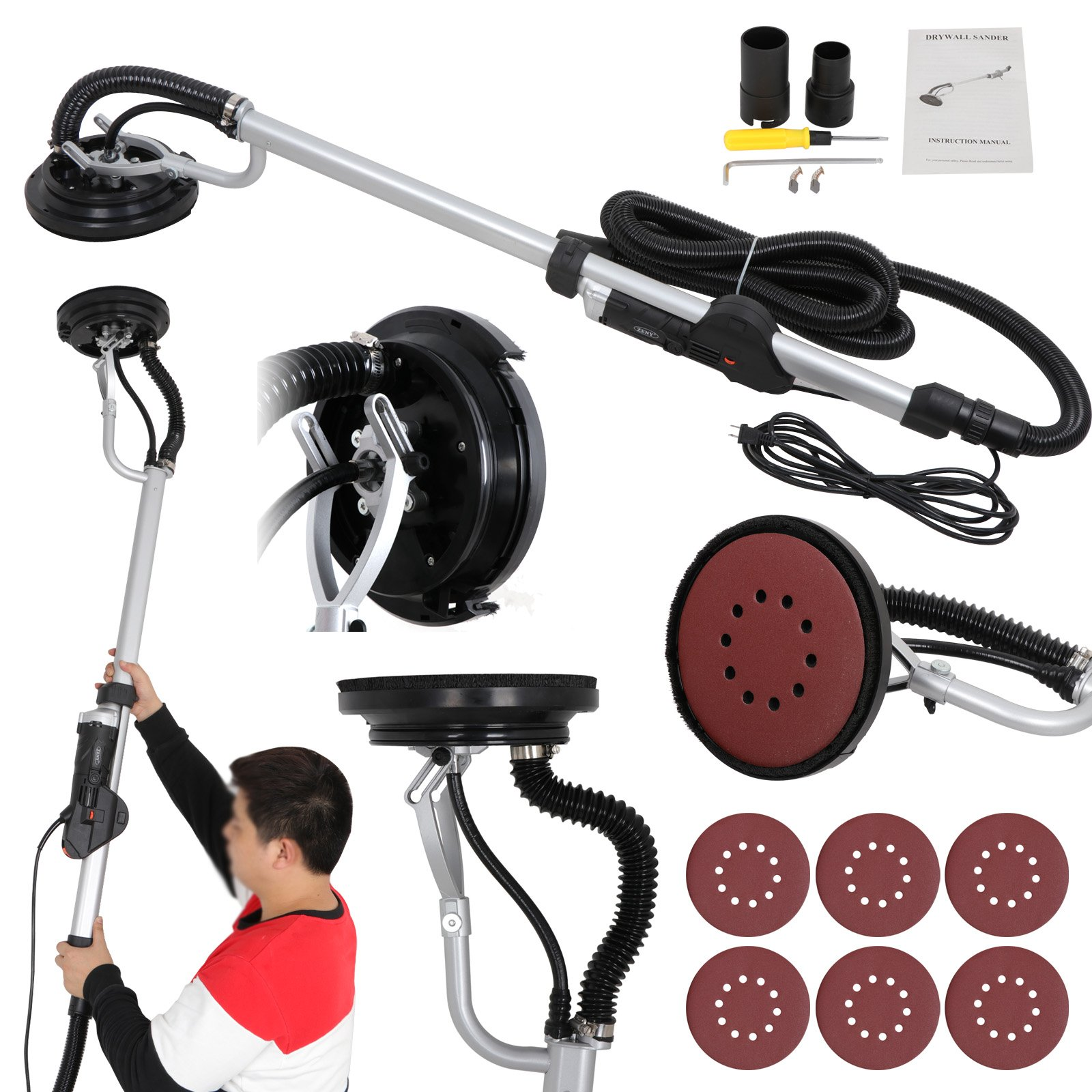 ZENY 800W Electric Drywall Sander Drywall Vacuum Adjustable Variable Speed w/ 6 Sand Pads