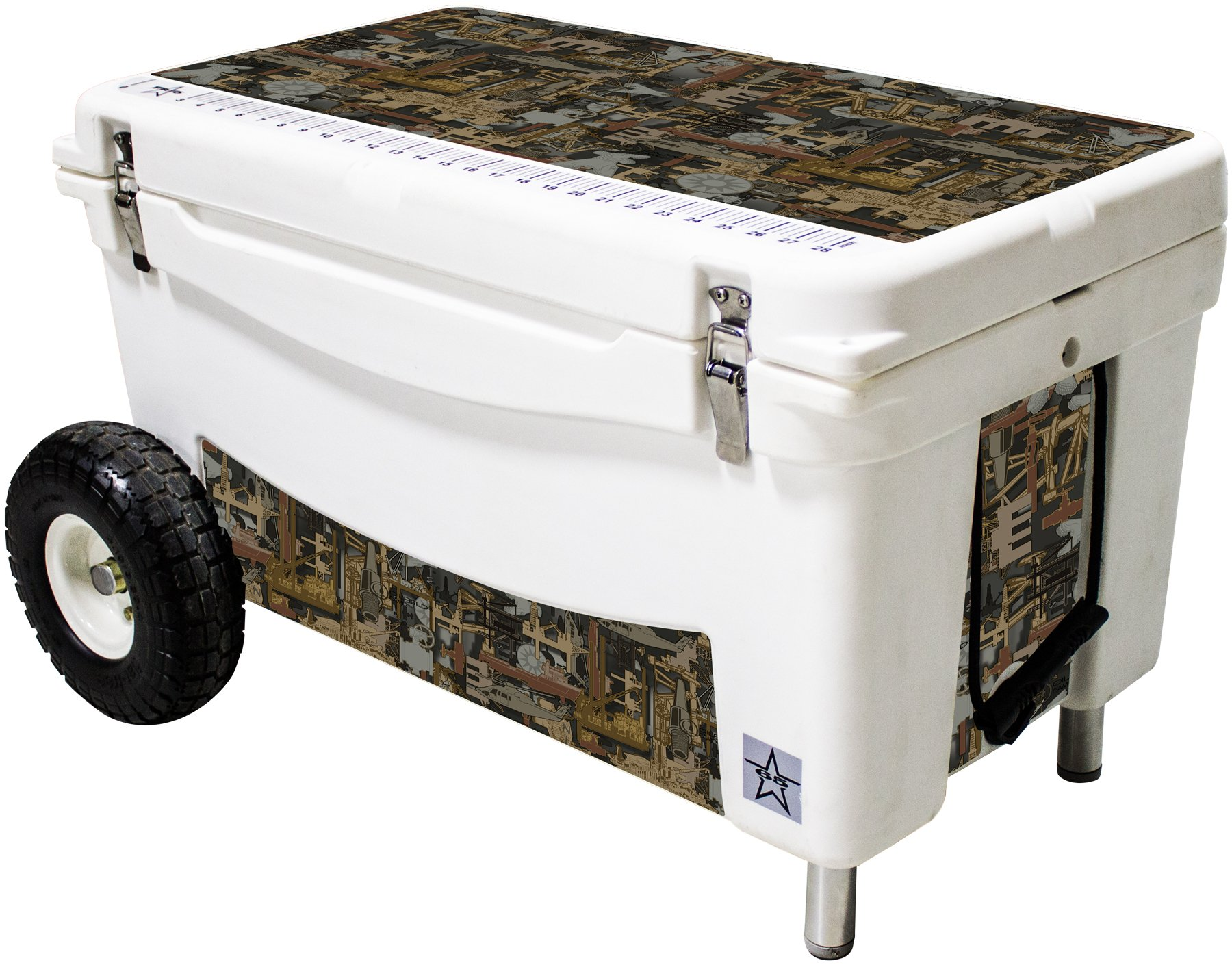 Frio Ice Chests 65Qt Extreme Wheeled White Hard Side with Oilfield Camo Theme Vinyl Wrap and Built in Motion Sensitive Light Bar with Bottle Openers