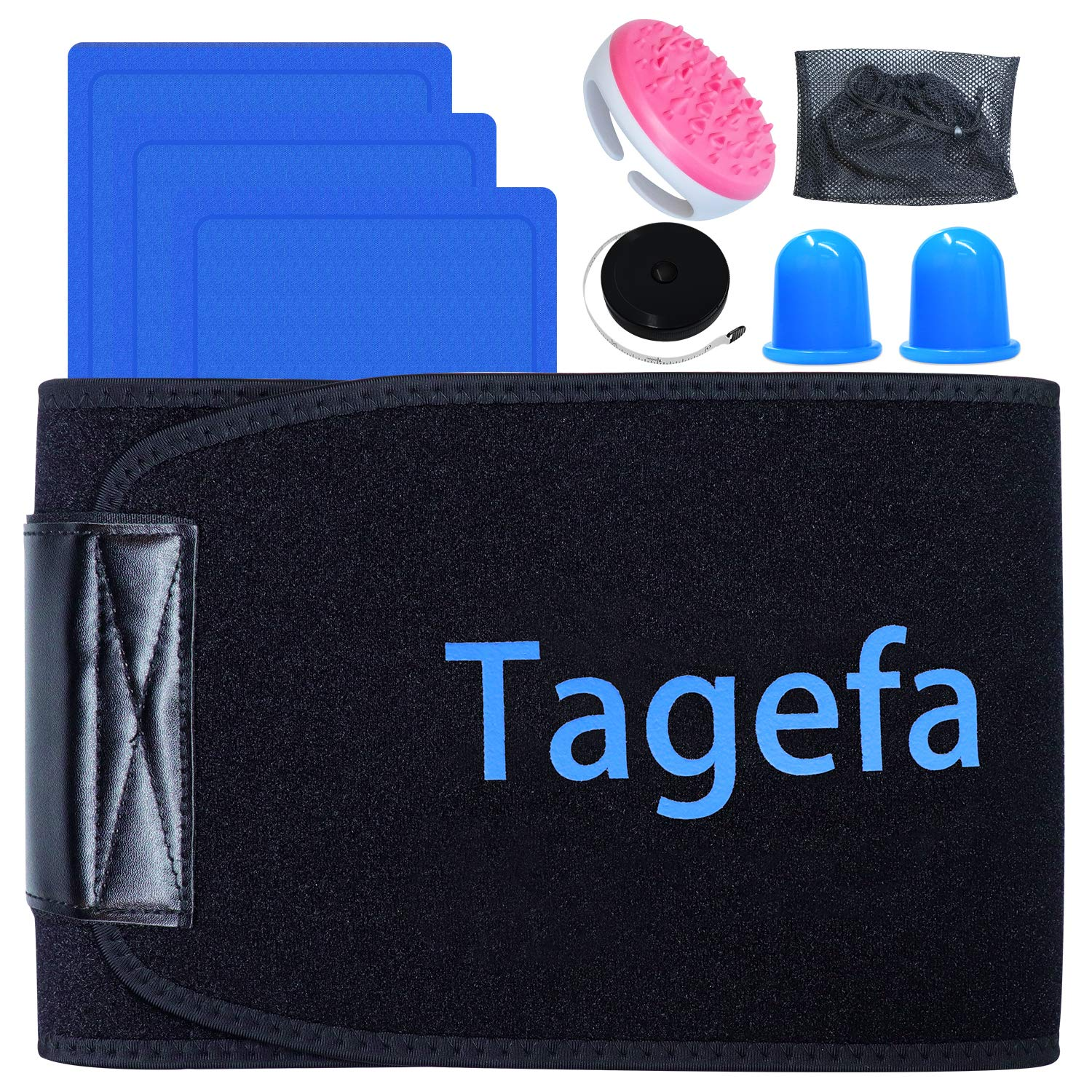 Tagefa Fat Freezing Body Sculpting Waist Trimmer, Lose Stubborn Belly Fat by Freezing Fat Cells at Home, Stomach Wraps for Weight Loss with 3 Cold Gel Packs, Massage Kit, Storage Bag