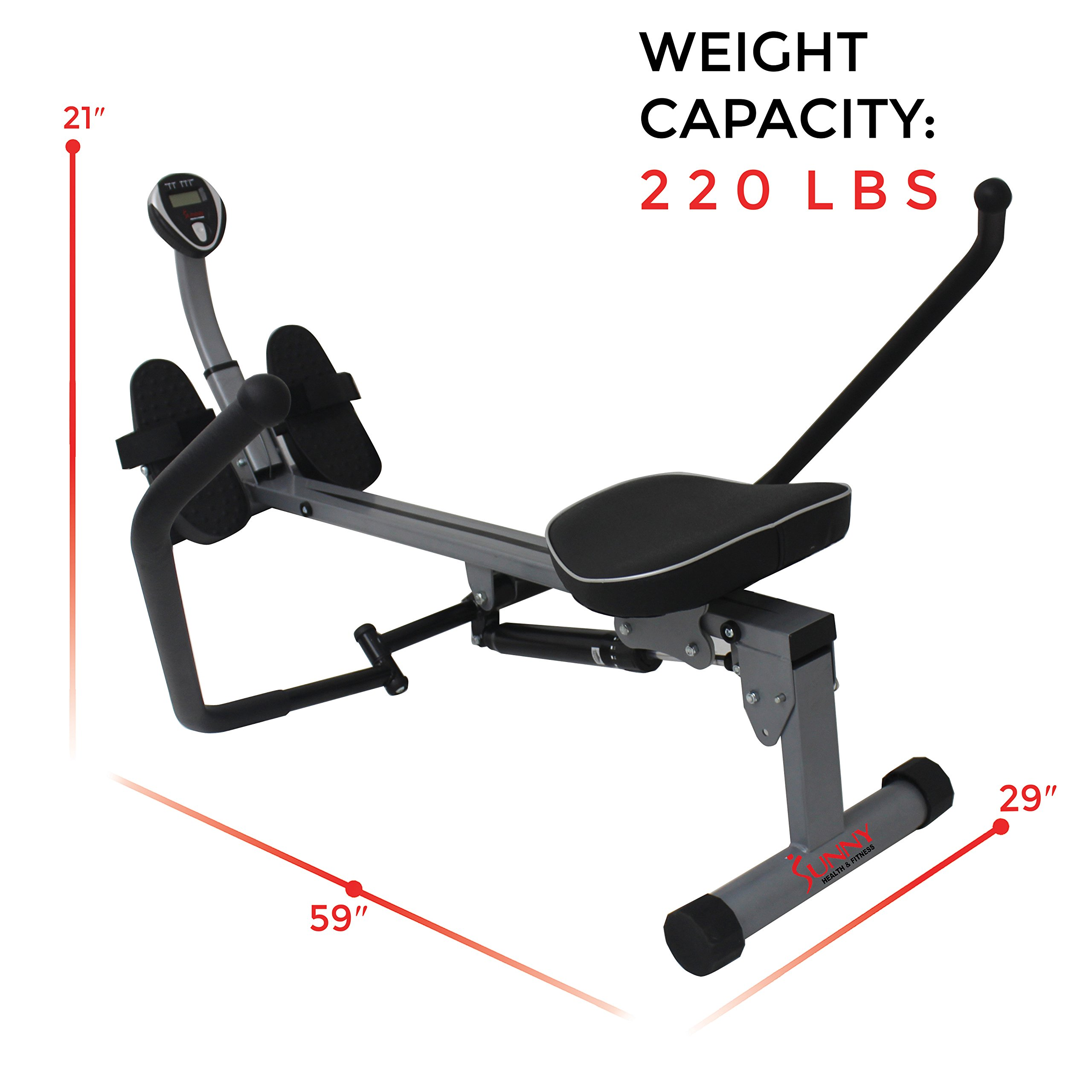 Sunny Health & Fitness SF-RW1410 Rowing Machine Rower with Full Motion Arms and LCD Monitor by Sunny Health & Fitness (Image #13)