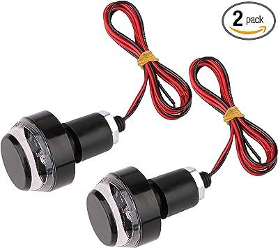 Amber Bright LED Indicator Handle Bar End Grip Plug Turn Signal Light 12V