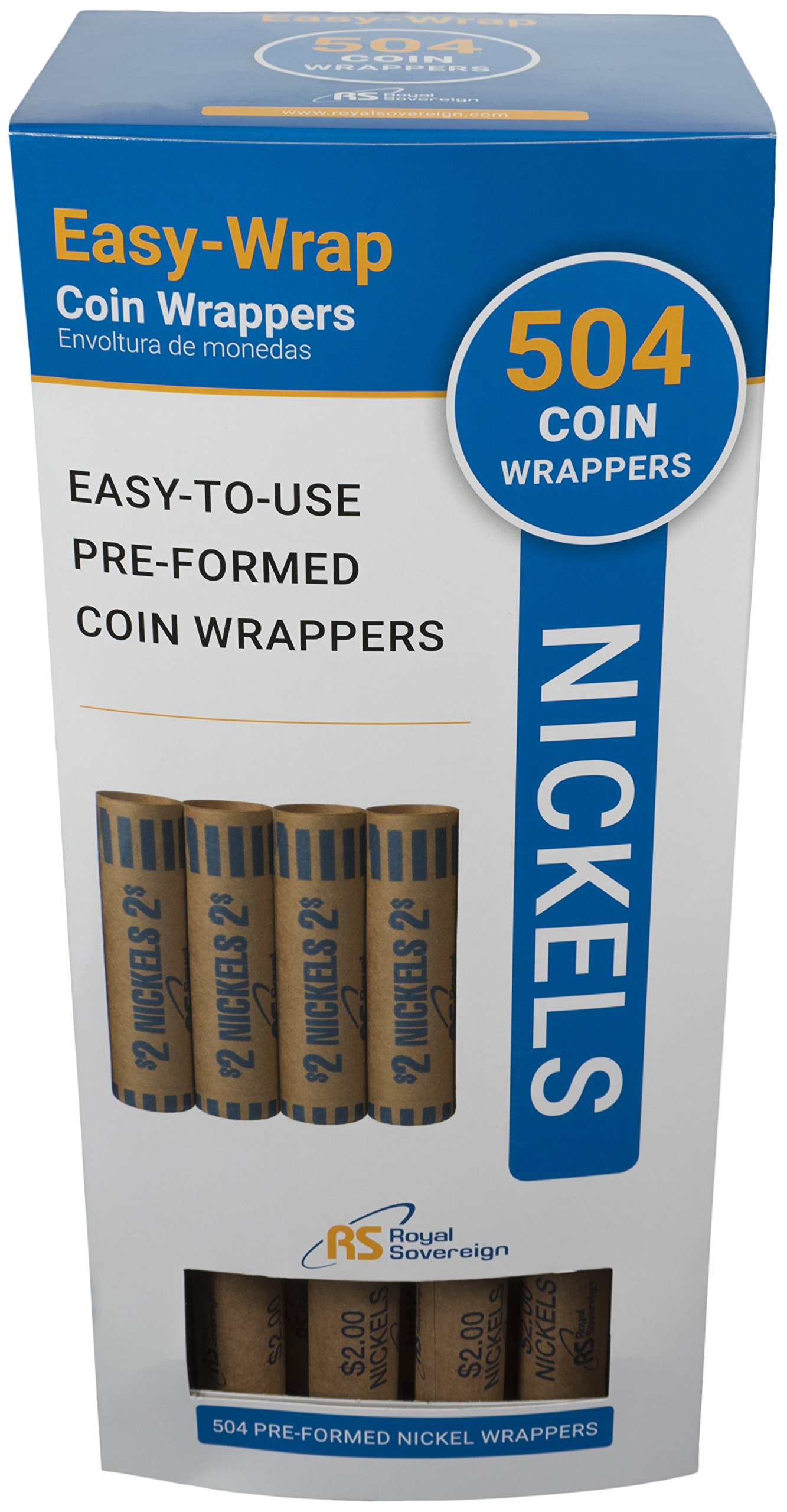 Royal Sovereign Preformed Coin Wrappers, 504 Nickel Coin Wrappers (FSW-504N)