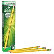 TICONDEROGA Pencils, Wood-Cased #2 HB Soft, Pre-Sharpened with Eraser, Yellow, 12-Pack (13806)