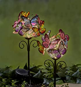 Garden Solar Light Outdoor - [2 Pack] Butterfly Garden Decor Waterproof LED Solar Power Stake Light for Garden,Lawn,Patio or Courtyard Decorations (Warm White)