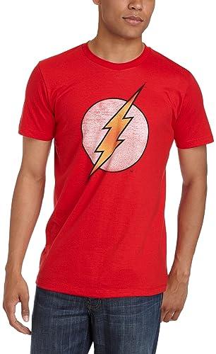 Bioworld Men's Flash Logo T-Shirt,Red,Large