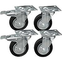 4 stuks transportwielen in een set 100 mm, wielen met rem van het merk HRB, zware wielen met max. 300 kg totale…