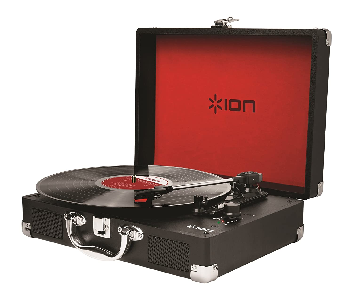 Amazon.com: ION Audio Vinyl Motion | Portable 3 Speed Belt Drive Suitcase  Turntable With Built In Speakers (Black): Musical Instruments