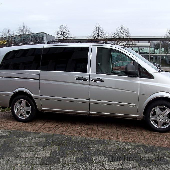 Techo Aluminio en Negro para Mercedes-Benz Viano/Vito W639 compacto a partir de 2004 también Facelift a partir de 2010 con ABE Side de certificación TÜV de Nord | Baca Baca Roof Rail: