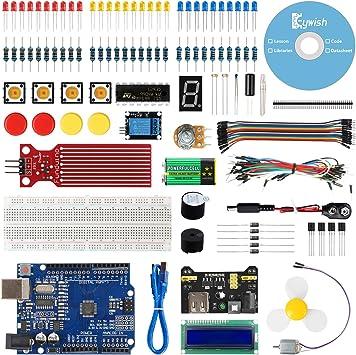 Keywish UNO R3 Project Mini Kit con Guías Tutorial,Placa Controladora UNO R3,Resistors Rotary Potentiometer,Resistor,Jump Wires para Arduino UNO Kit Starter Kit: Amazon.es: Electrónica