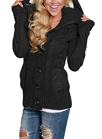 Blibea Womens Casual Long Sleeve Hooded Knit Cardigans Button Down Cable Sweater  Coats with Pockets Small 2124ae1b9