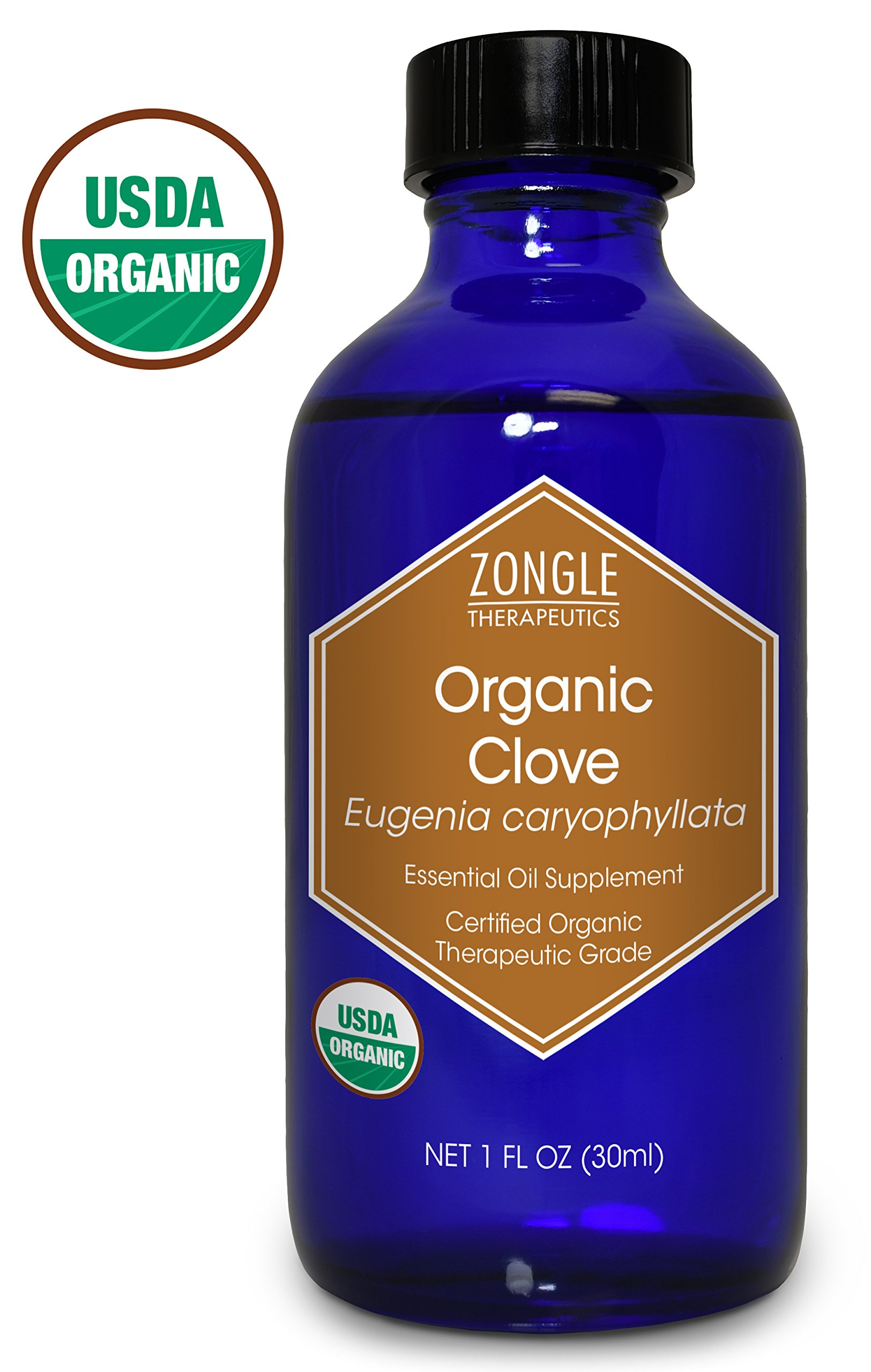 Zongle USDA Certified Organic Clove Essential Oil, Safe to Ingest, Eugenia Caryophyllata, 1 oz
