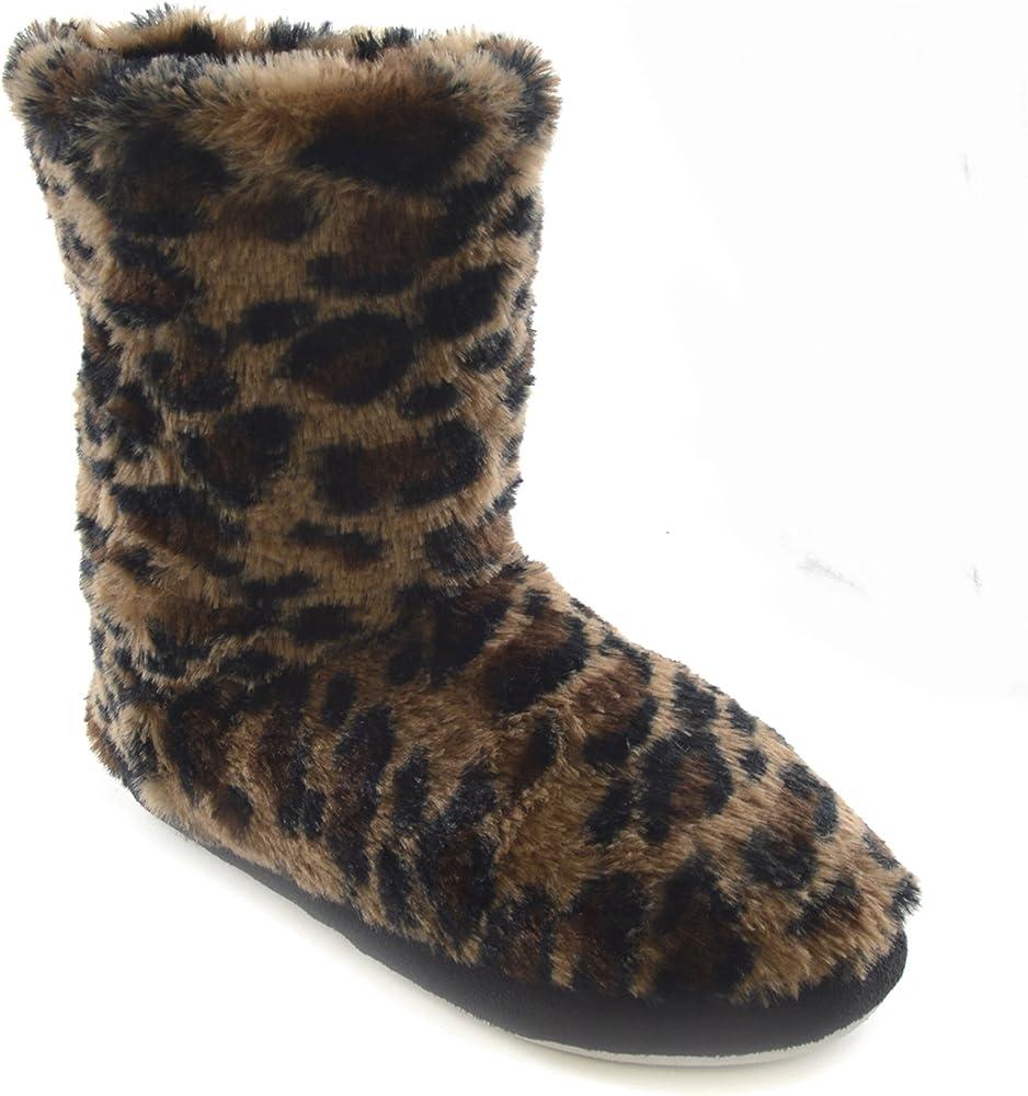 leopard slipper boots