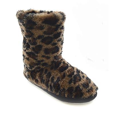 Textiles Universels Chaussons bottes à motif léopard - Femme (36-37 EUR) ( 296fc74fa75f