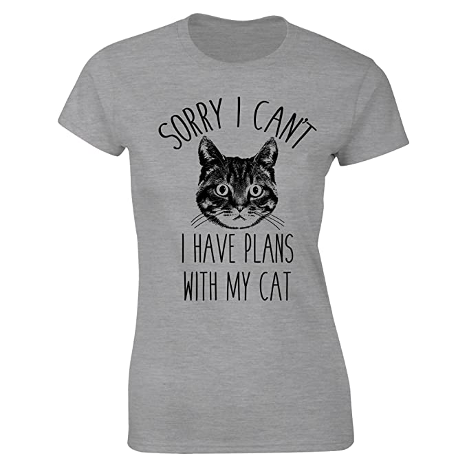 3cfd5ccab62 Womens Sorry I Cant I Have Plans with My Cat Funny Slogan T-Shirt  Amazon.co .uk  Clothing
