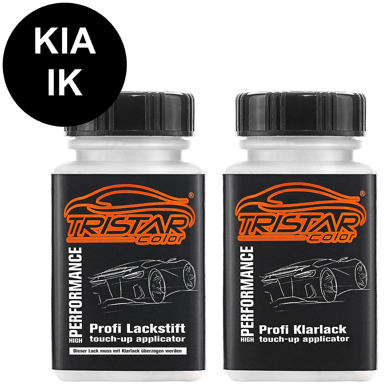 TRISTARcolor Autolack Lackstift Set KIA IK Black Perl/Zilinaschwarz Metallic Basislack Klarlack je 50ml MG Colors GmbH