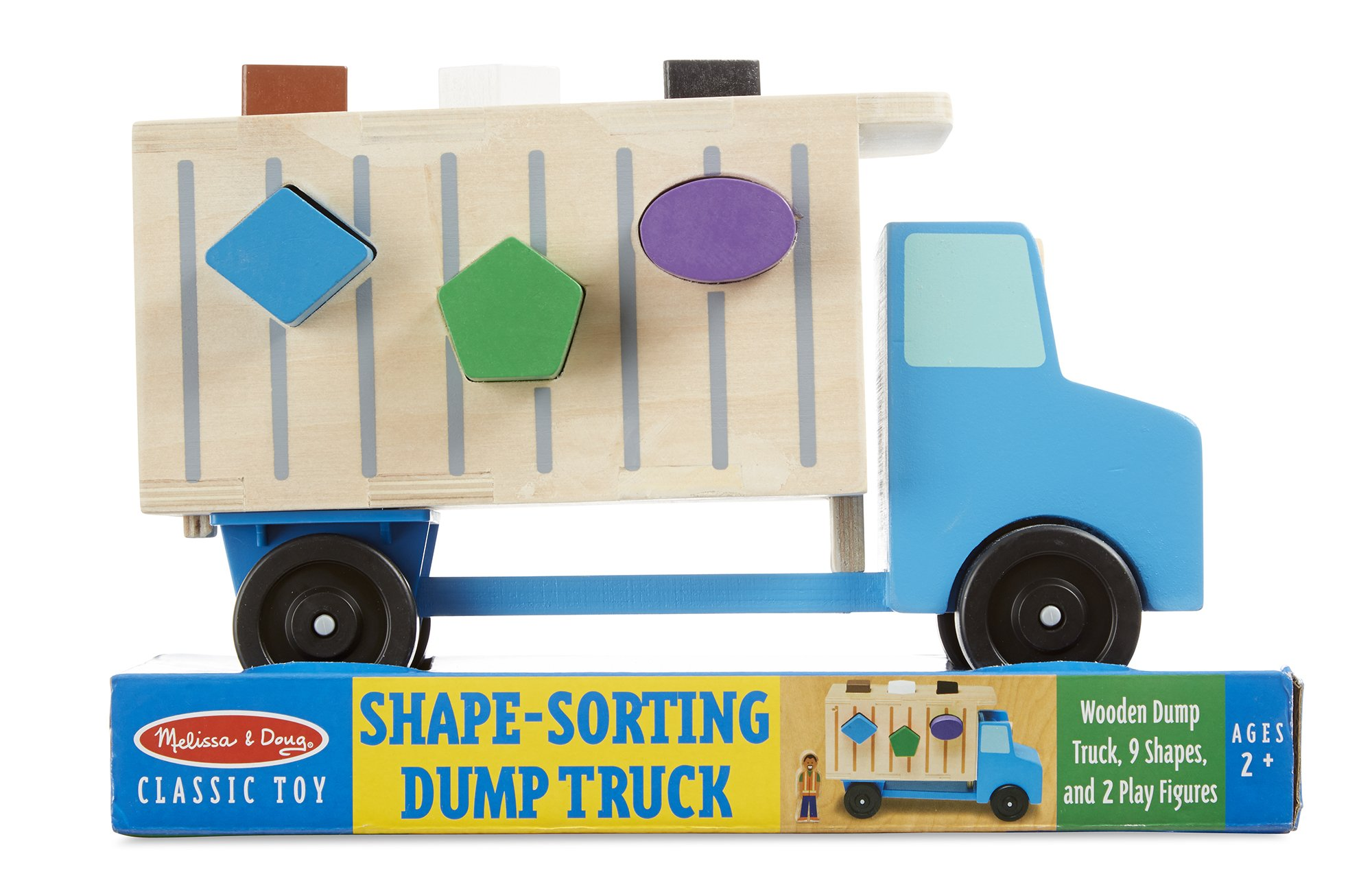 Melissa & Doug Shape-Sorting Wooden Dump Truck Toy, Quality Craftsmanship, 9 Colorful Shapes and 2 Play Figures, 7.5'' H x 10.75'' W x 4.75'' L by Melissa & Doug (Image #3)