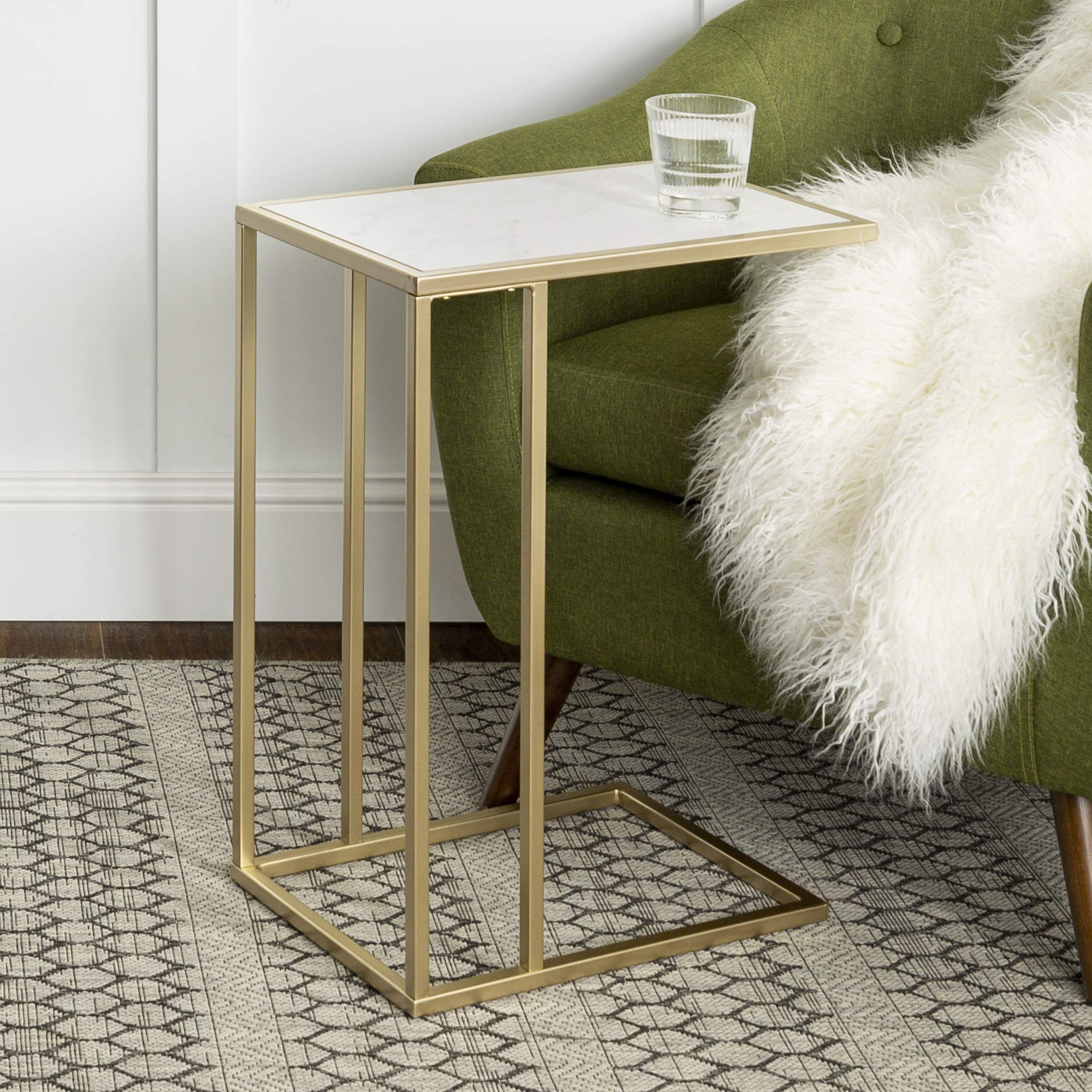 WE Furniture Modern Side End Accent C Table Living Room, 20 Inch, White Marble, Gold by WE Furniture