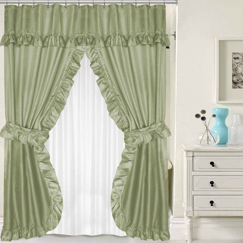 New Lauren Double Swag PEVA Fabric Shower Curtain w/Tie Backs & Liner 70'' x 72''- Sage.