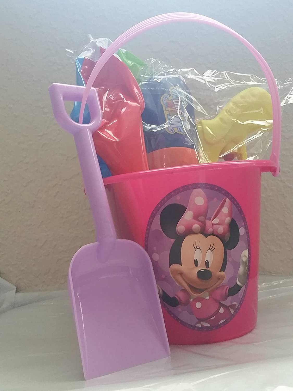 4 3//4 Inch Disney Minnie Mouse Pink Sand Bucket with Teal Shovel for Kids