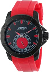 Haurex Italy Mens 3N503URR Acros Black Ion-Plated Coated Stainless Steel Red Rubber Strap Watch