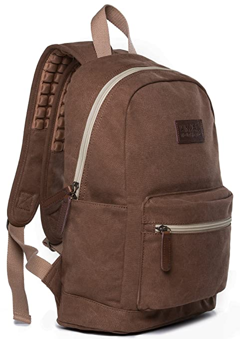 130281034c Kinmac Coffee Canvas Small Size Laptop Backpack with Massage Cushion Straps  for Laptop Up to 13