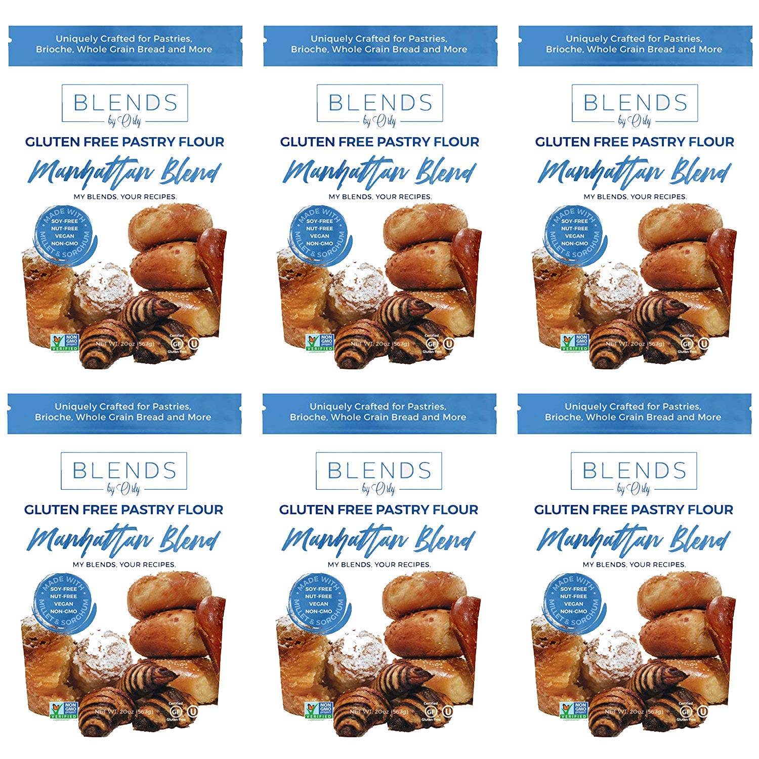 Premium Gluten Free Pastry Flour | Gluten Free Donut Flour - Baking Flour for Gluten Free Challah Bread, GF Brioche Bread, GF Cinnamon Roll, GF Bagels from Manhattan Blends by Orly 120 OZ (Pack of 6) by Blends By Orly