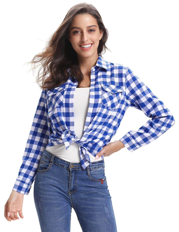 Abollria Chemisier Carreaux Femme Chemise Femme Classique Retro Coton Gilet Femme Blouse Carreaux T Shirt Casual Vintage