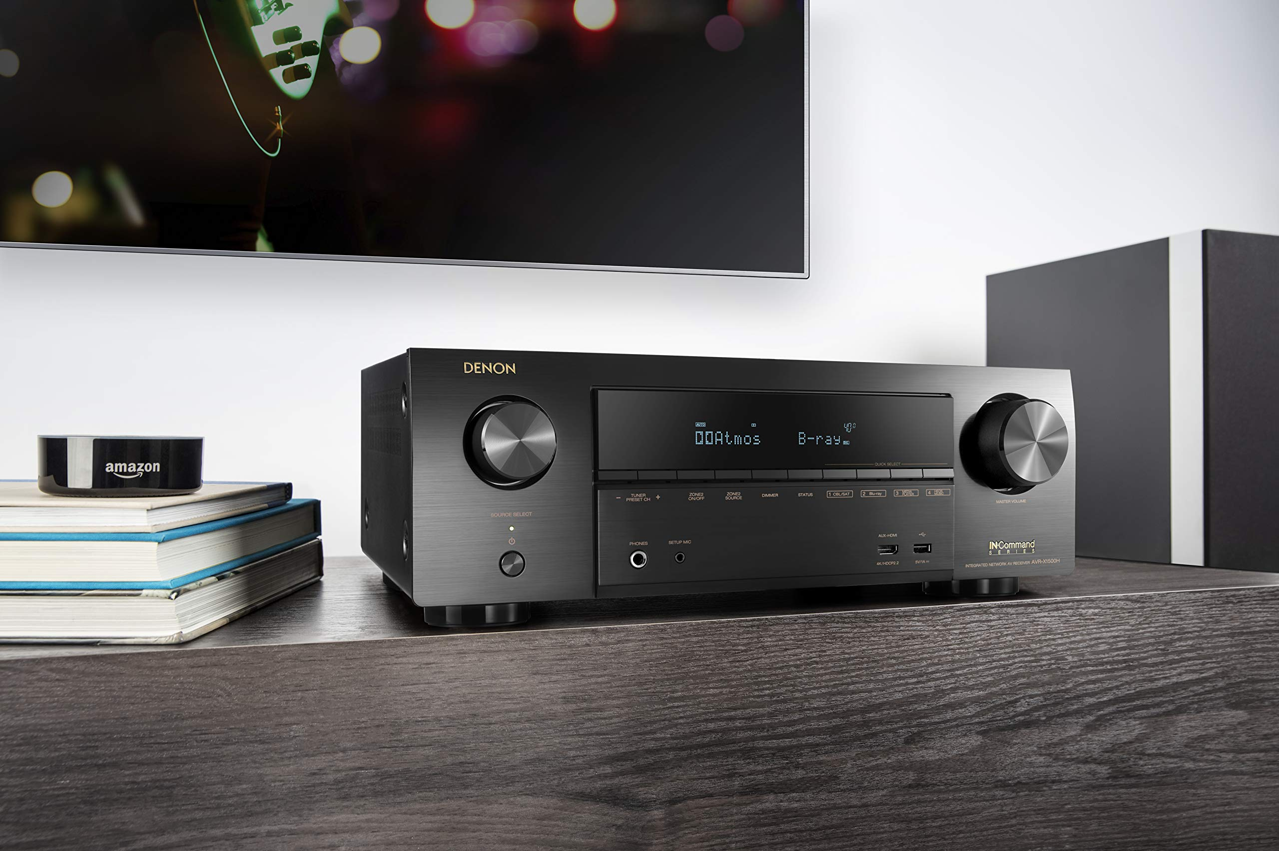 Denon AVR-X1500H Receiver - HDR10, 3D video support | 7.2 Channel (80W per channel) 4K Ultra HD Video | Home Theater Dolby Surround Sound | Music Streaming System with Alexa Control