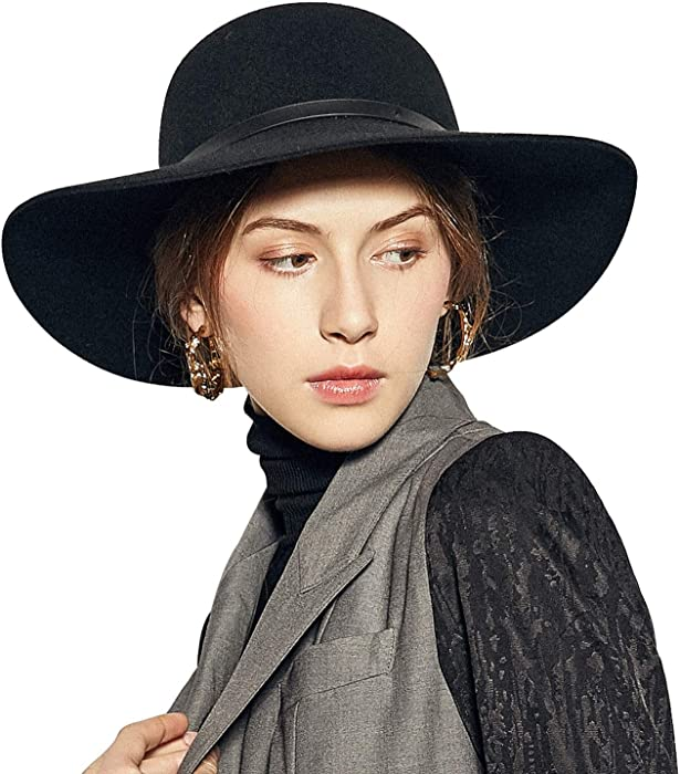Sedancasesa Wide Brimmed 100% Wool Felt Floppy Hat Vintage Women Warm Triby  Hats (Black a60ece83b82e