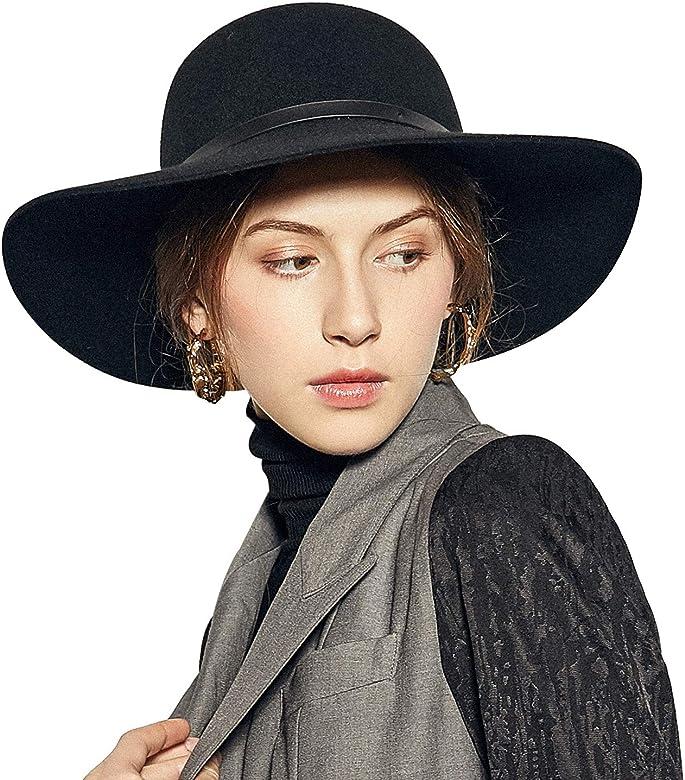 93f698bcd Wide Brimmed 100% Wool Felt Floppy Hat Vintage Women Warm Triby Hats