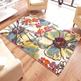 Woodstock Floral Rug 32041-6254 Cream, Blue, Yellow & Green Multi Coloured 1.33m x 1.9m (4'4 x 6'3 approx)