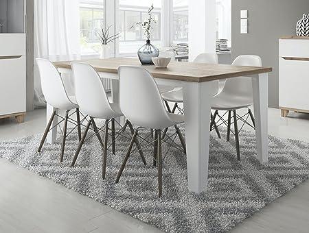 tendencio Table Salle à Manger Style scandinave Lier 160 cm - Blanc et  Pieds Bois