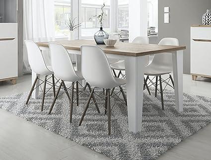 Tendencio Table Salle A Manger Style Scandinave Lier 160 Cm Blanc Et Pieds Bois