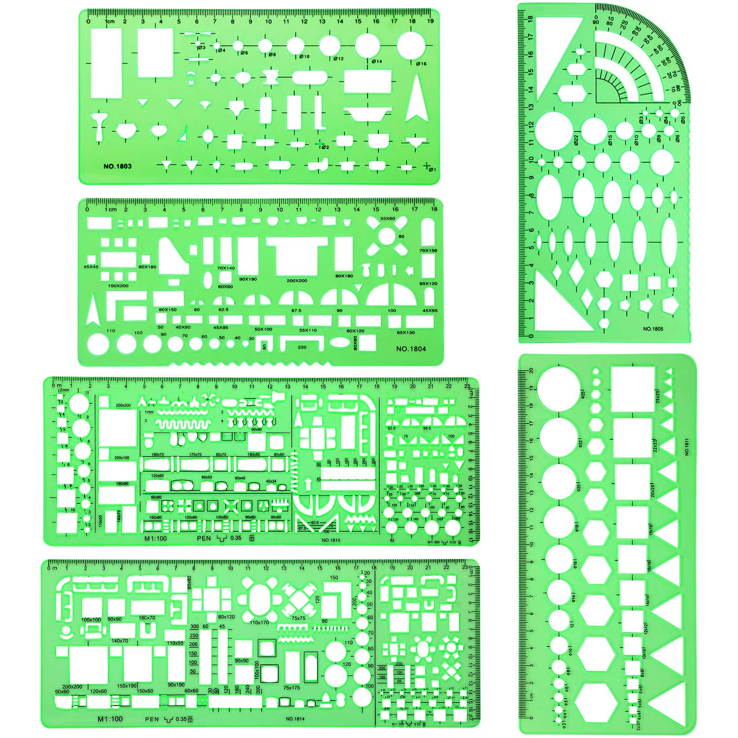 6 Pieces Plastic Measuring Templates Building Formwork Stencils Geometric Drawing Rulers for Office and School, Clear Green by Shappy
