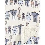 Hudson Baby Unisex Baby Plush Blanket with Sherpa Back, Royal Safari, One Size