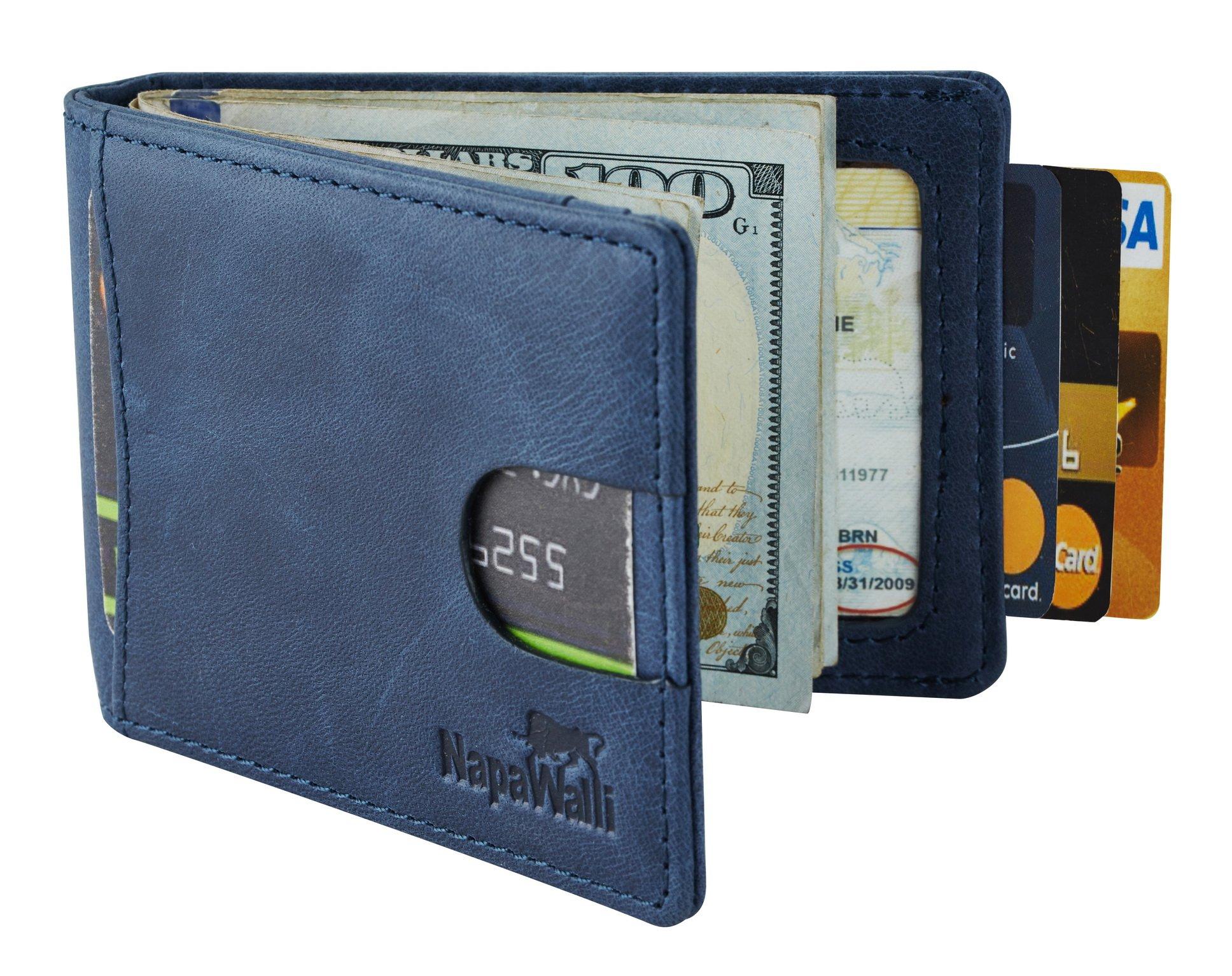 NapaWalli RFID Blocking Bifold Slim Genuine Leather Thin Minimalist Front Pocket Wallets for Men Money Clip (vintage deep blue)