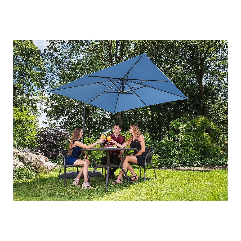 Blu, Quadrato, 250 x 250 cm, 180 g//m2, Inclinabile Uniprodo Ombrellone da Esterno Ombrello da Giardino Uni/_Umbrella/_SQ250BL