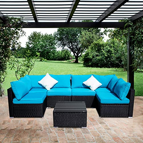 OVASTLKUY Outdoor Rattan Patio Garden Furniture Set Sofa Wicker Conversation Set Couch Furniture Set Blue Blue 7p