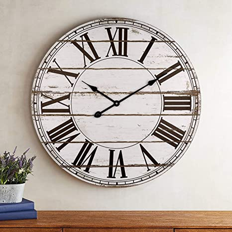 Amazon Com Bew Large Wall Clock 24 Inch Vintage Rustic Distressed Shiplap Decorative Roman Wall Clocks Silent Wooden Farmhouse Clock For Living Room Dining Room Bedroom Den Shelf White Home Kitchen