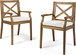 Christopher Knight Home 304680 Peter | Outdoor Acacia Wood Dining Chair with Cushion | Set of 2 | Teak/Cream