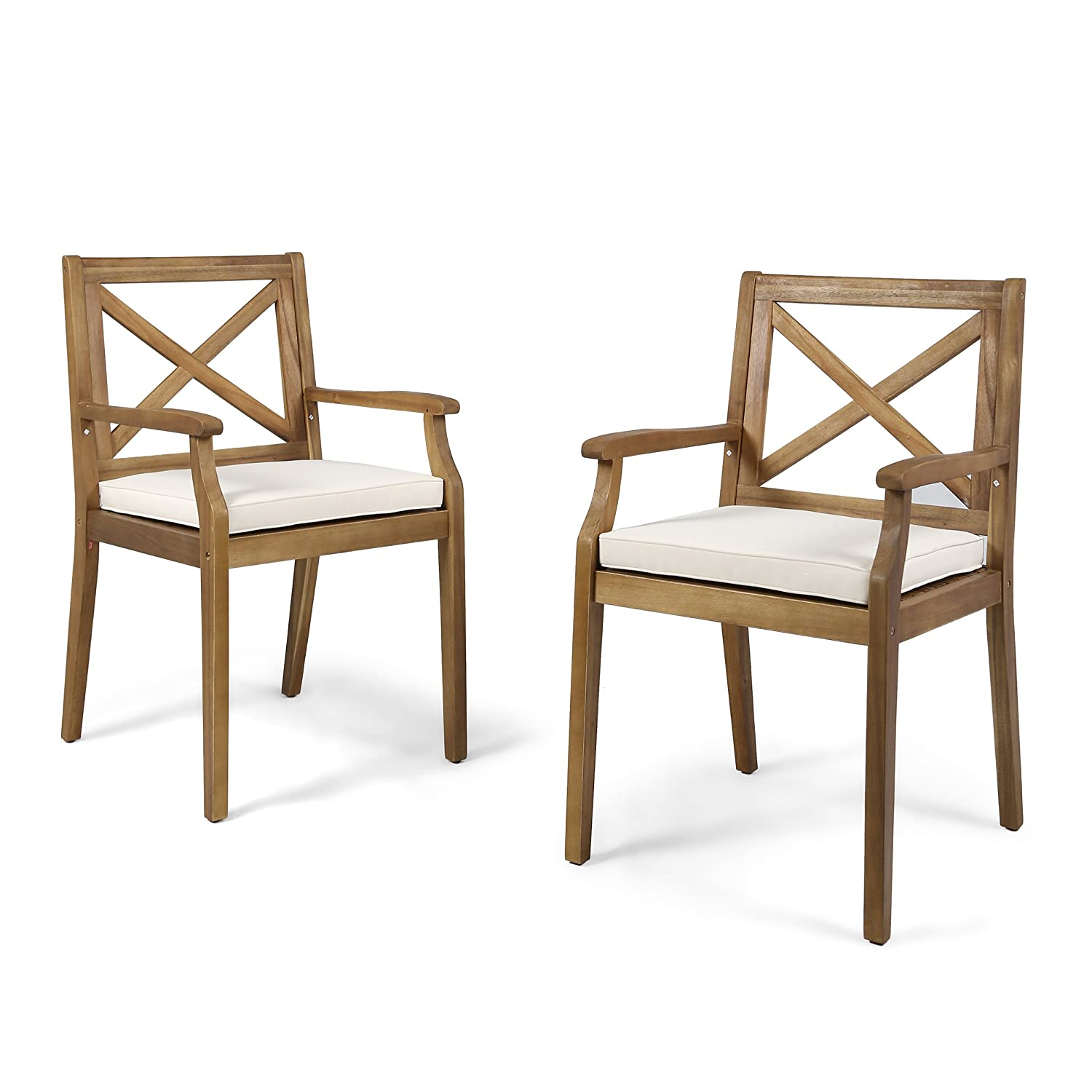 Christopher Knight Home 304680 Peter Outdoor Acacia Wood Dining Chair Set of 2, Teak Cream Cushion