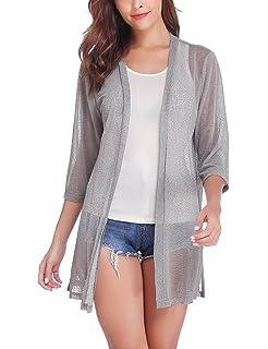 b778641bfb1 iClosam Women Casual 3 4 Sleeve Sheer Open Front Cardigan Sweater
