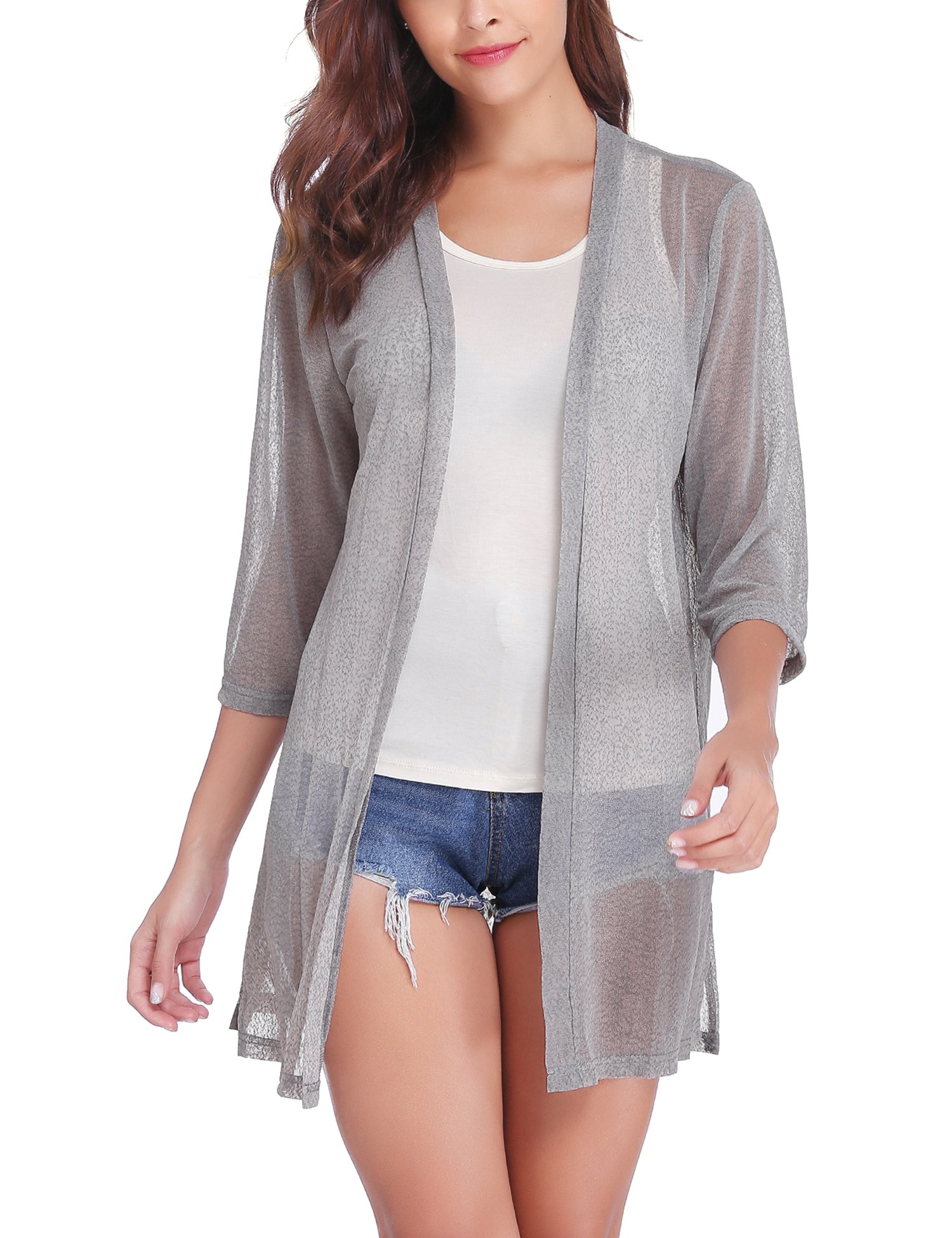 iClosam Women Casual 3/4 Sleeve Sheer Open Front Cardigan Sweater (Grey, X-Large)
