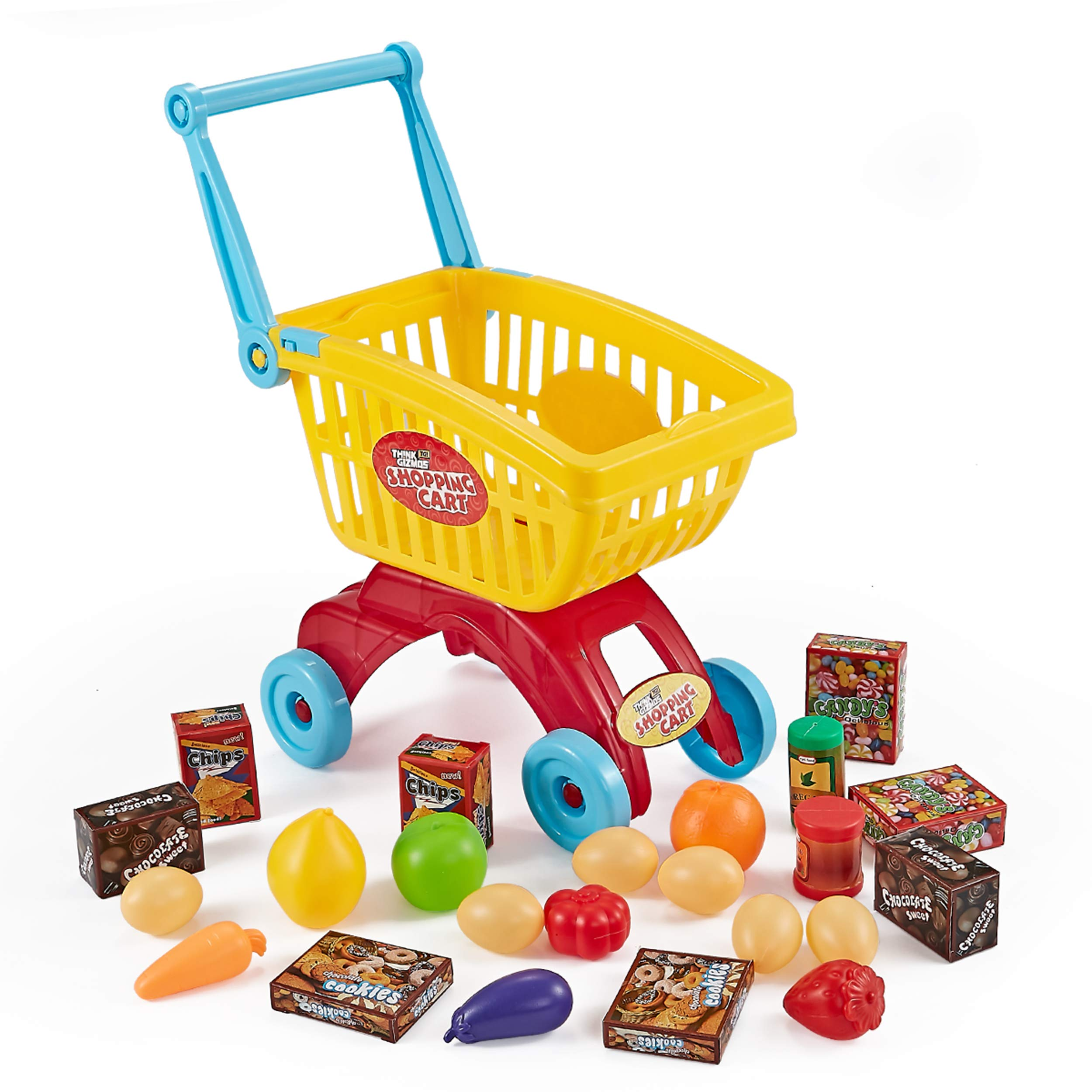 Think Gizmos Shopping Cart for Toddlers - Supermarket Play Set - TG705 - Toddler Play Set Gift for Boys & Girls Aged 3 4 5+