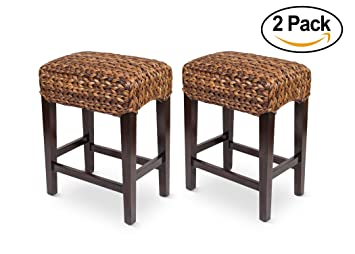 Amazon.com: Bird Rock Home Seagrass Backless Counter Stool | Set Of 2 |  Handwoven | Natural Fibers | Fully Assembled: Kitchen U0026 Dining