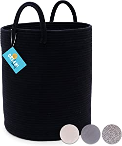 OrganiHaus XXL Cotton Rope Basket in Black | Tall 15x18 Storage Basket with Long Handles | Decorative Black Blanket Basket for Living Room and Laundry